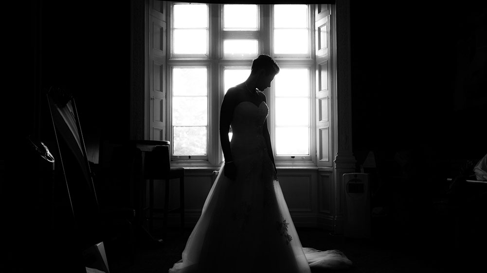 A beautiful bride in her wedding dress